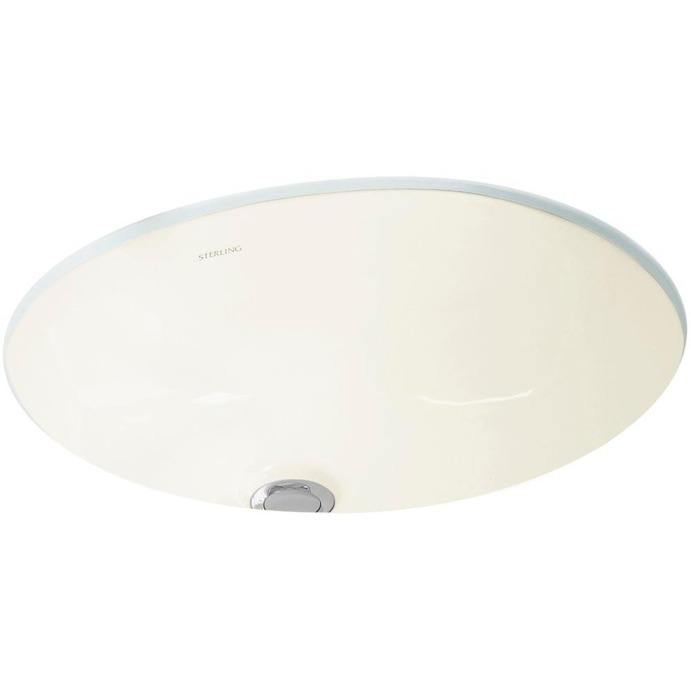 STERLING Wescott Under-Mounted Vitreous China Bathroom Sink in Biscuit with Overflow Drain