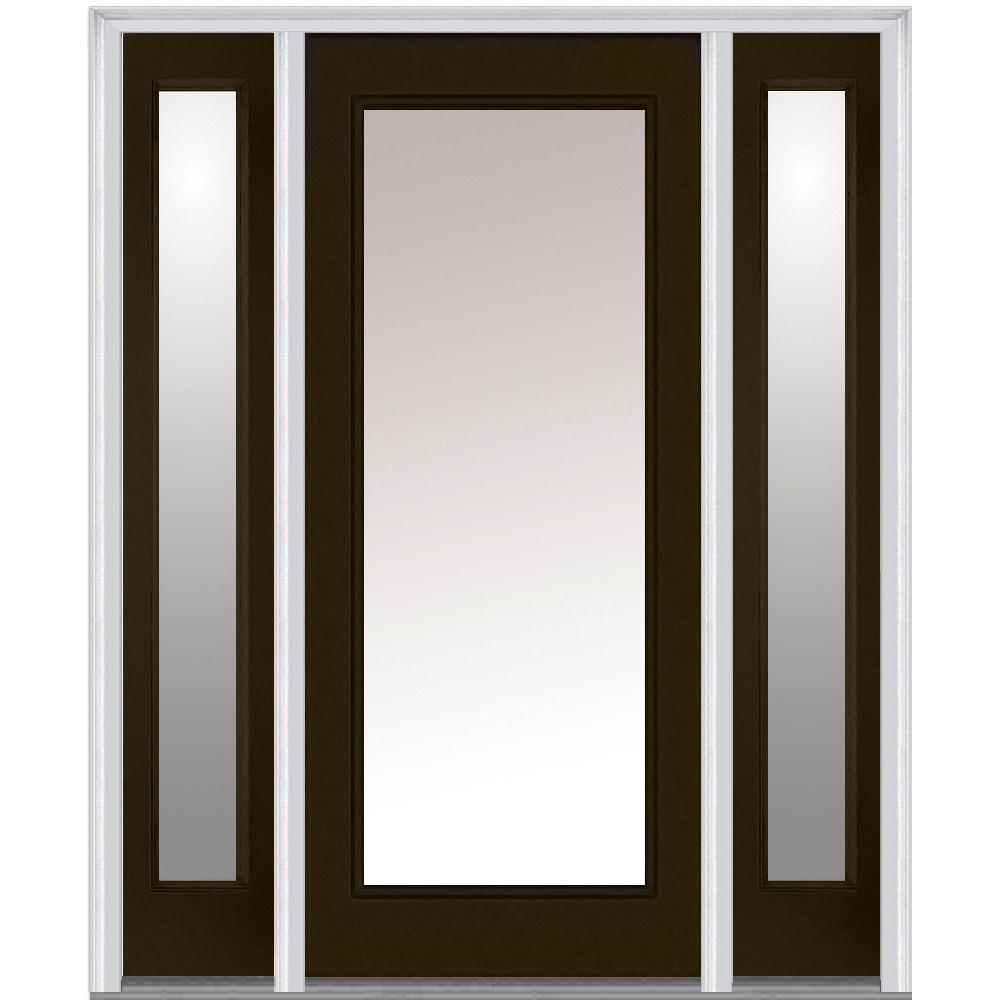 Milliken Millwork 64.5 in. x 81.75 in. Classic Clear Glass Full Lite Painted Fiberglass Smooth Exterior Door with Sidelites, Brown