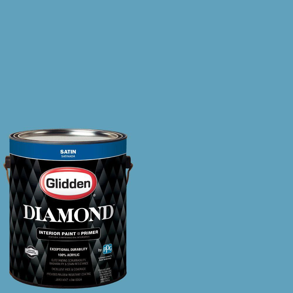 1 gal. #HDGB46D Hidden Harbor Blue Satin Interior Paint with Primer