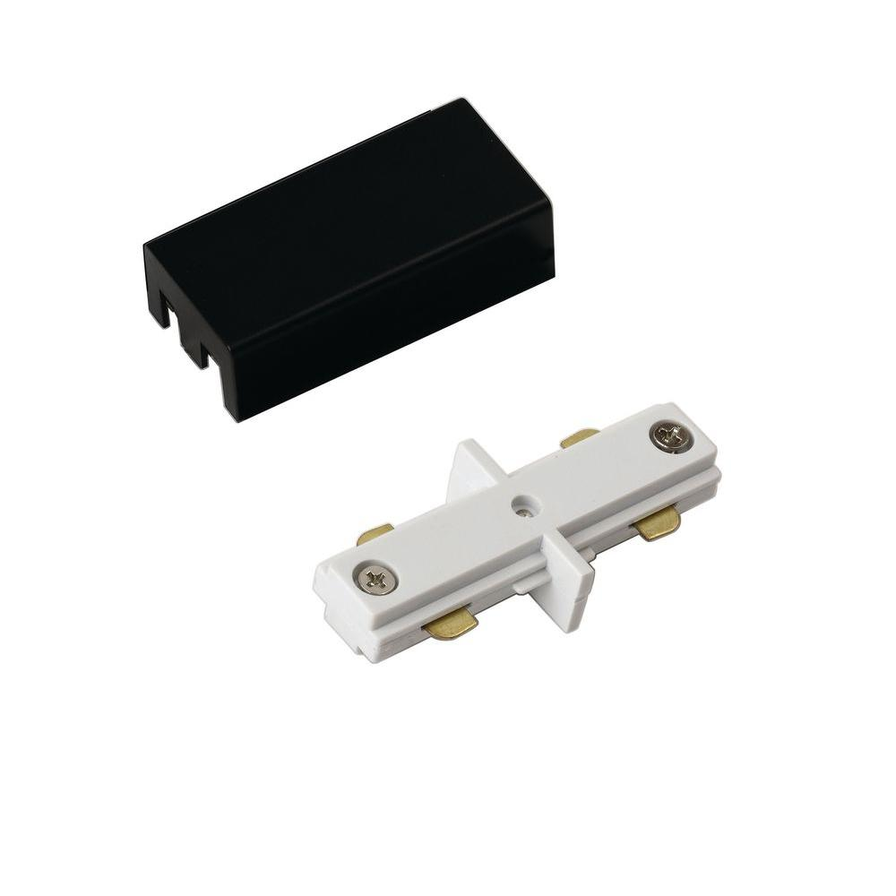 Hampton Bay White and Black Linear Track Lighting Mini Straight Connector