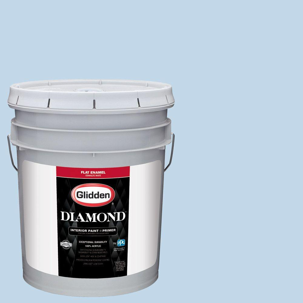 5 gal. #HDGV16 Bonnie Blue Eyes Flat Interior Paint with Primer