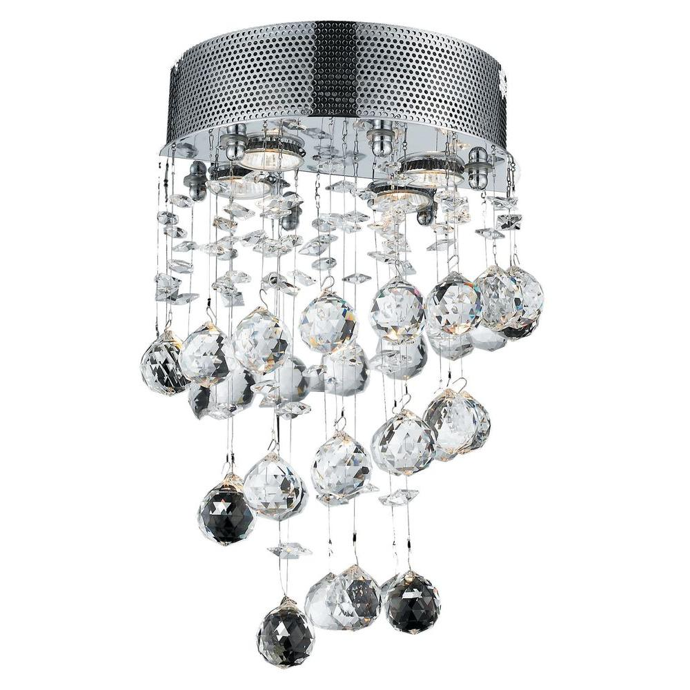 Elegant Lighting 2-Light Chrome Pendant with Clear Crystal-EL2024W12C/RC - The