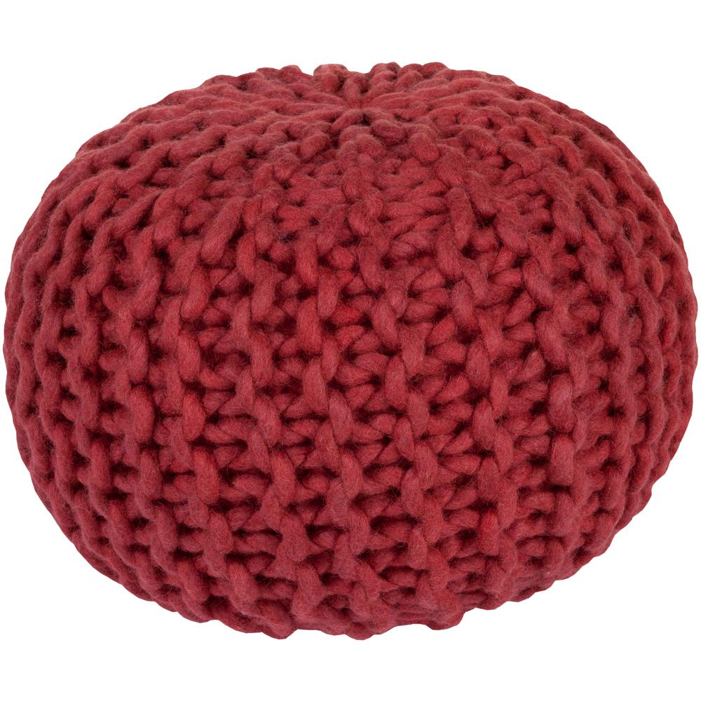 Ahanu Bright Red Accent Pouf