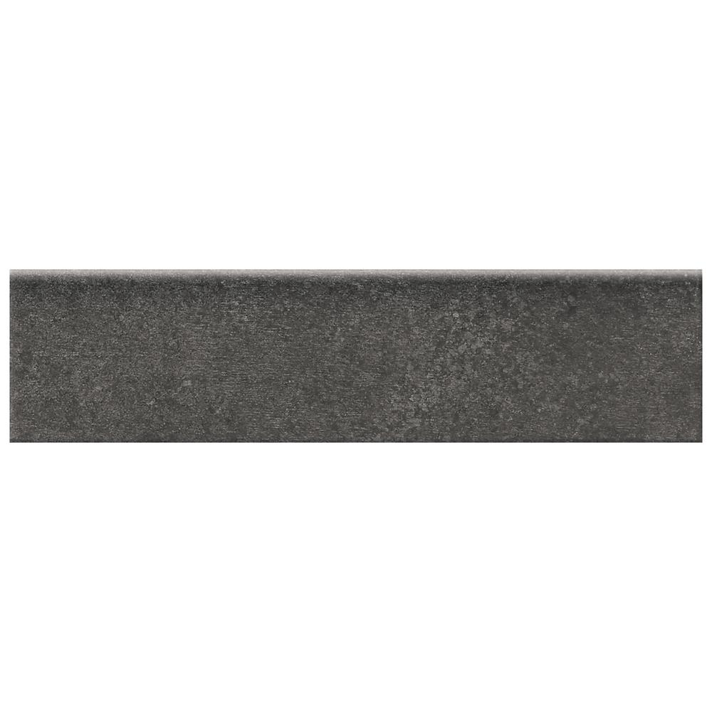 Eclectic Vintage Charcoal Concrete 3 in. x 12 in. Porcelain Bullnose