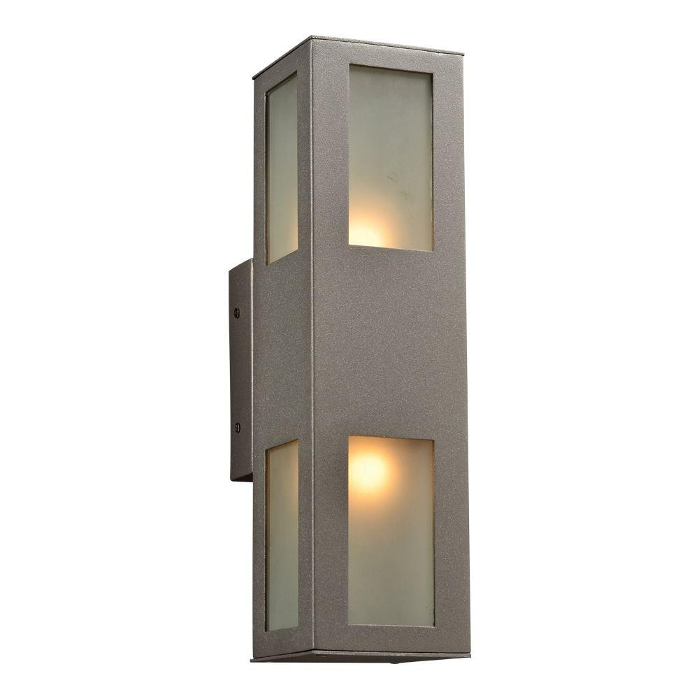 2-Light Outdoor Bronze Wall Sconce with Frost Glass Diffuser