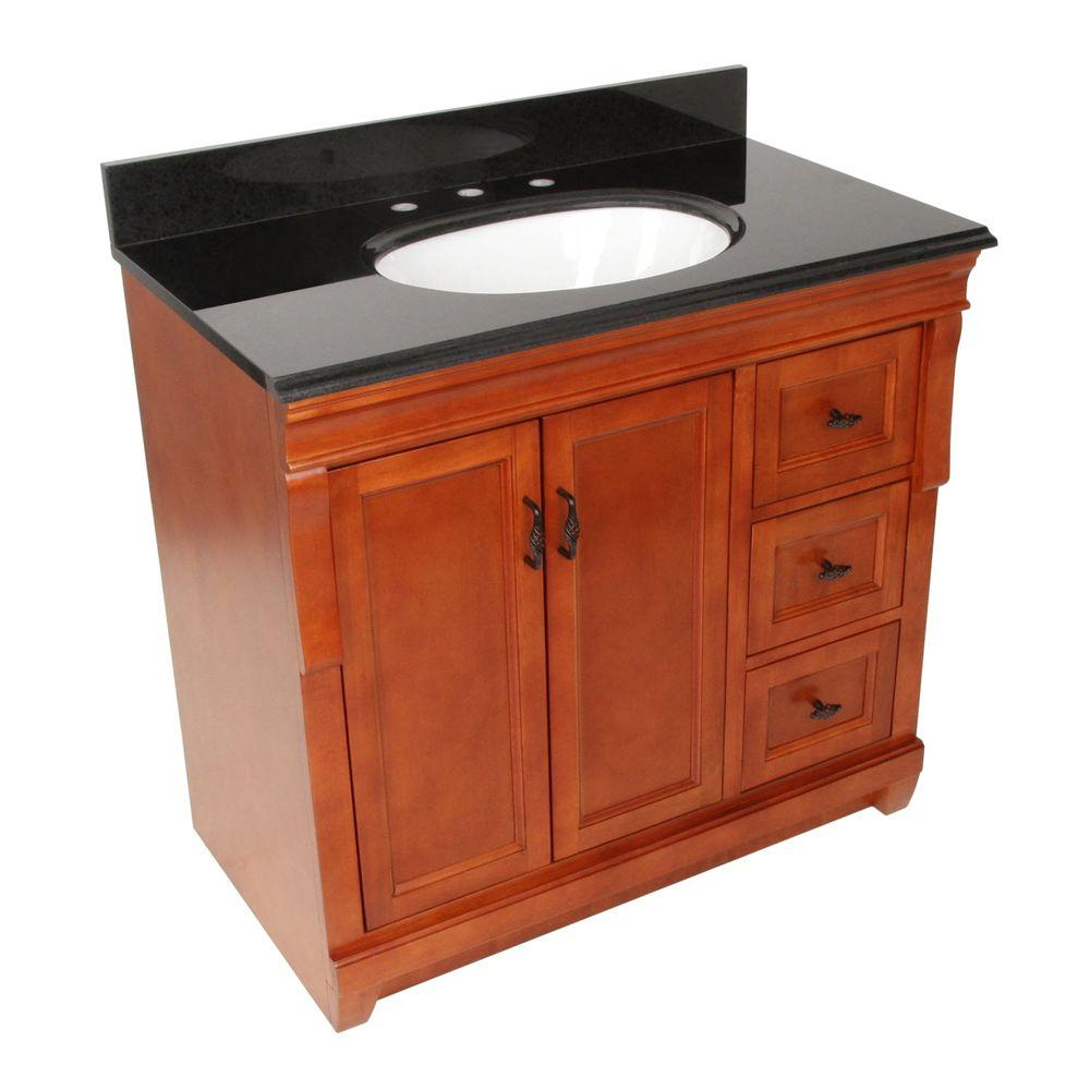 Foremost Naples 37 in. W x 22 in. D Vanity with Right Drawers in Warm Cinnamon with Granite Vanity Top in Black
