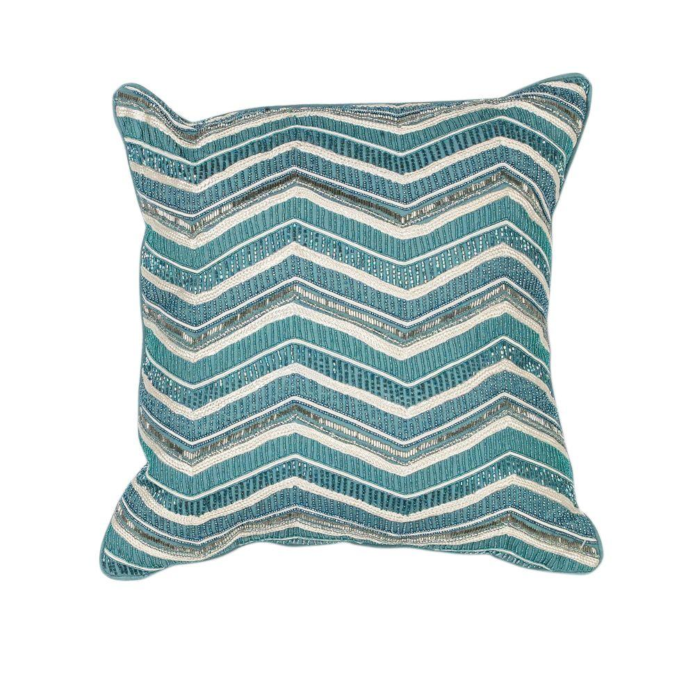 Kas Rugs Huntington Teal Decorative Pillow-PILL19018SQ - The Home Depot