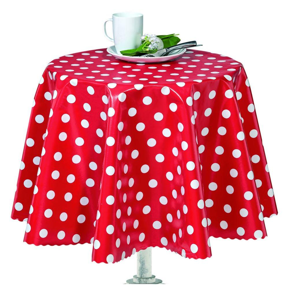 55 in. Round Indoor and Outdoor Red Polka Dot Design Table