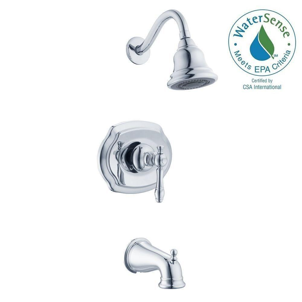 Glacier Bay Lyndhurst 1-Handle 3-Spray Tub and Shower Faucet in Chrome-873W-1001