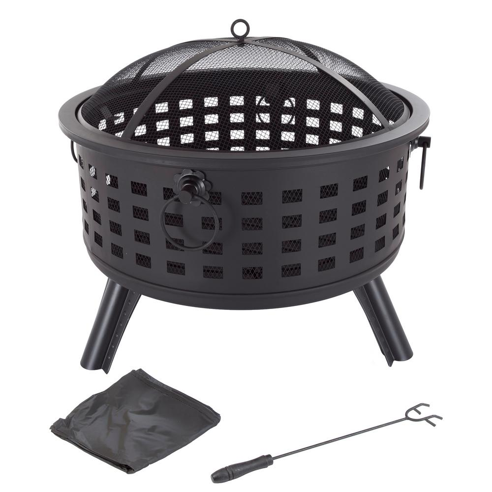 26 in. Steel Round Fire Pit with Spark Screen and Log