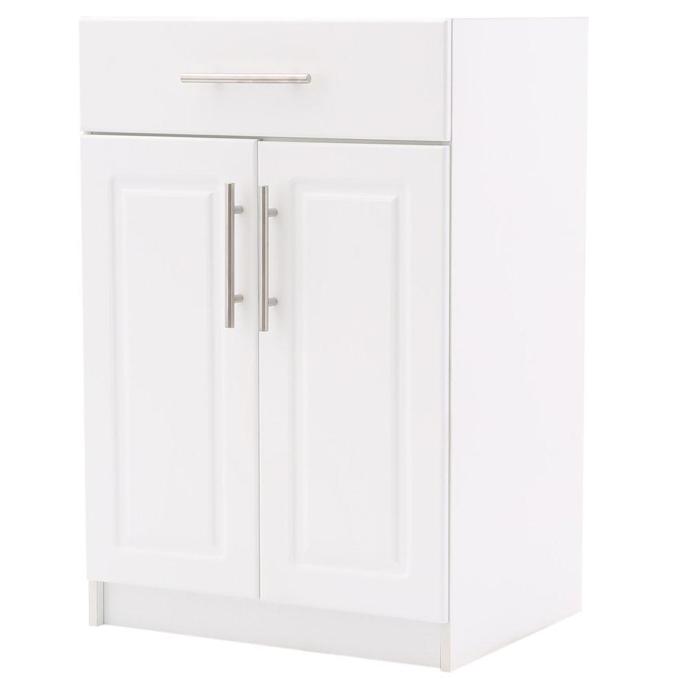 Hampton Bay Select 2-Door Base Cabinet with Drawer in White