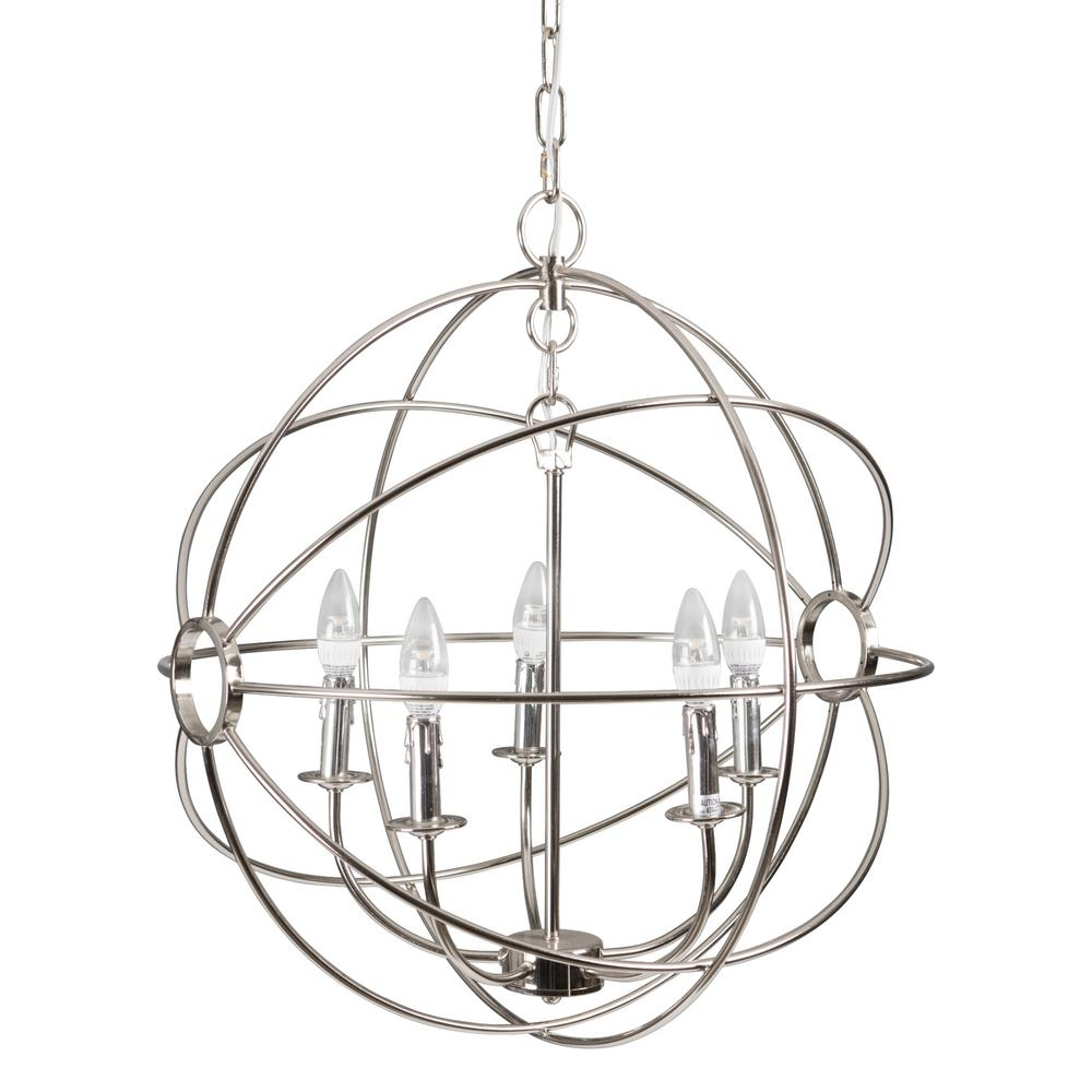 Yosemite Home Decor Shooting Star 5-Light Nickel Plated Mini Chandelier
