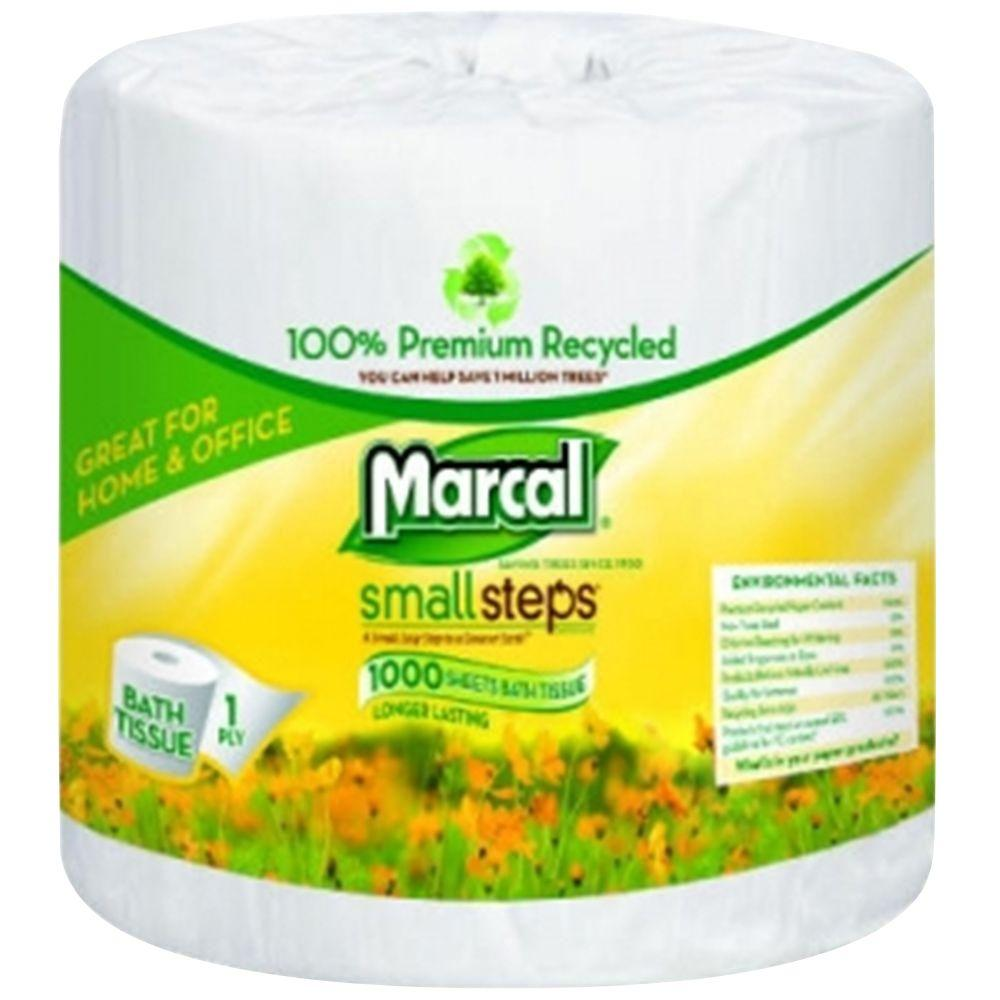 Marcal 100% Recycled 4.3 in. x 3.66 in. Fluffy Bath Tissue 2-Ply (80-Rolls)