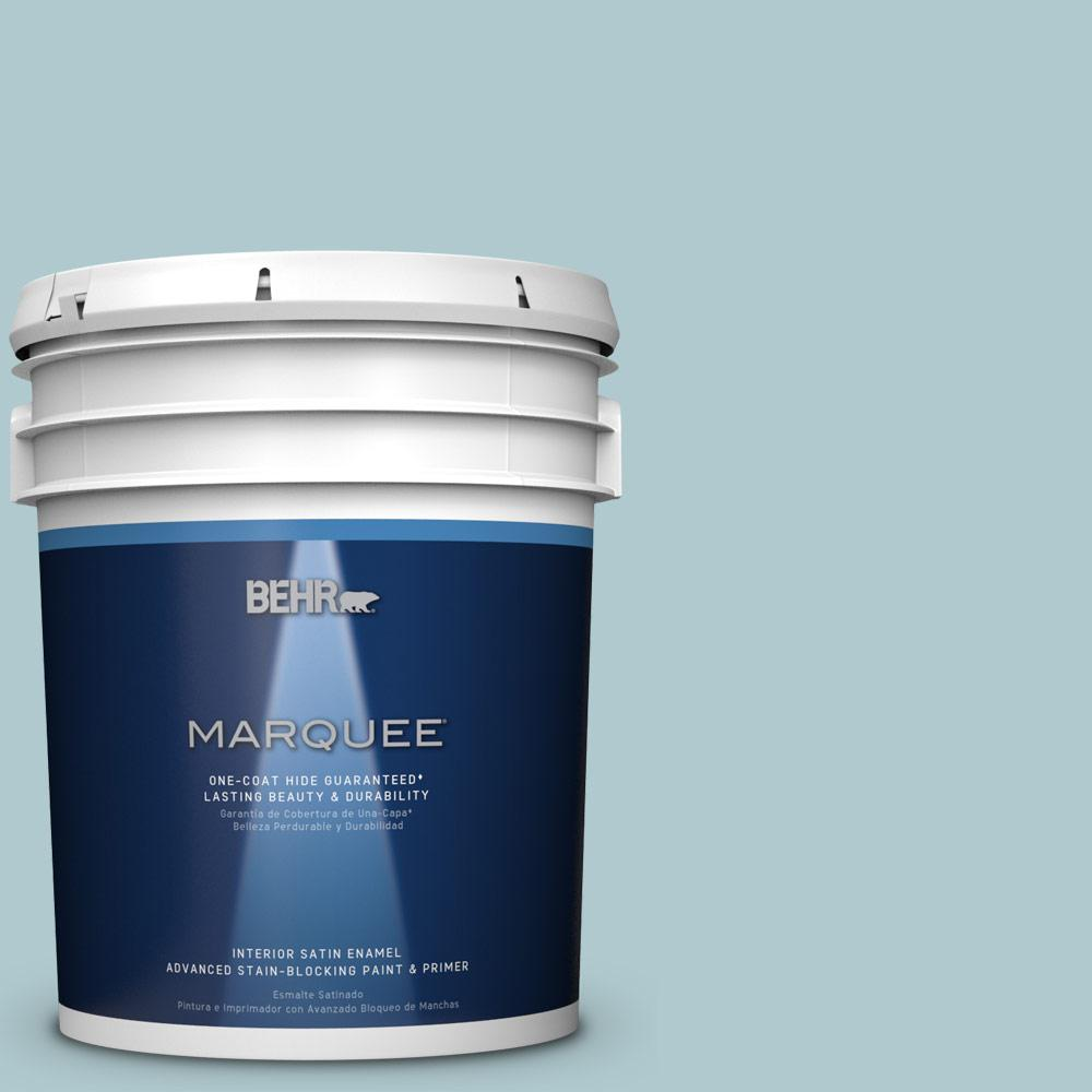5 gal. #HDC-SM14-8 Floating Blue Satin Enamel Interior Paint