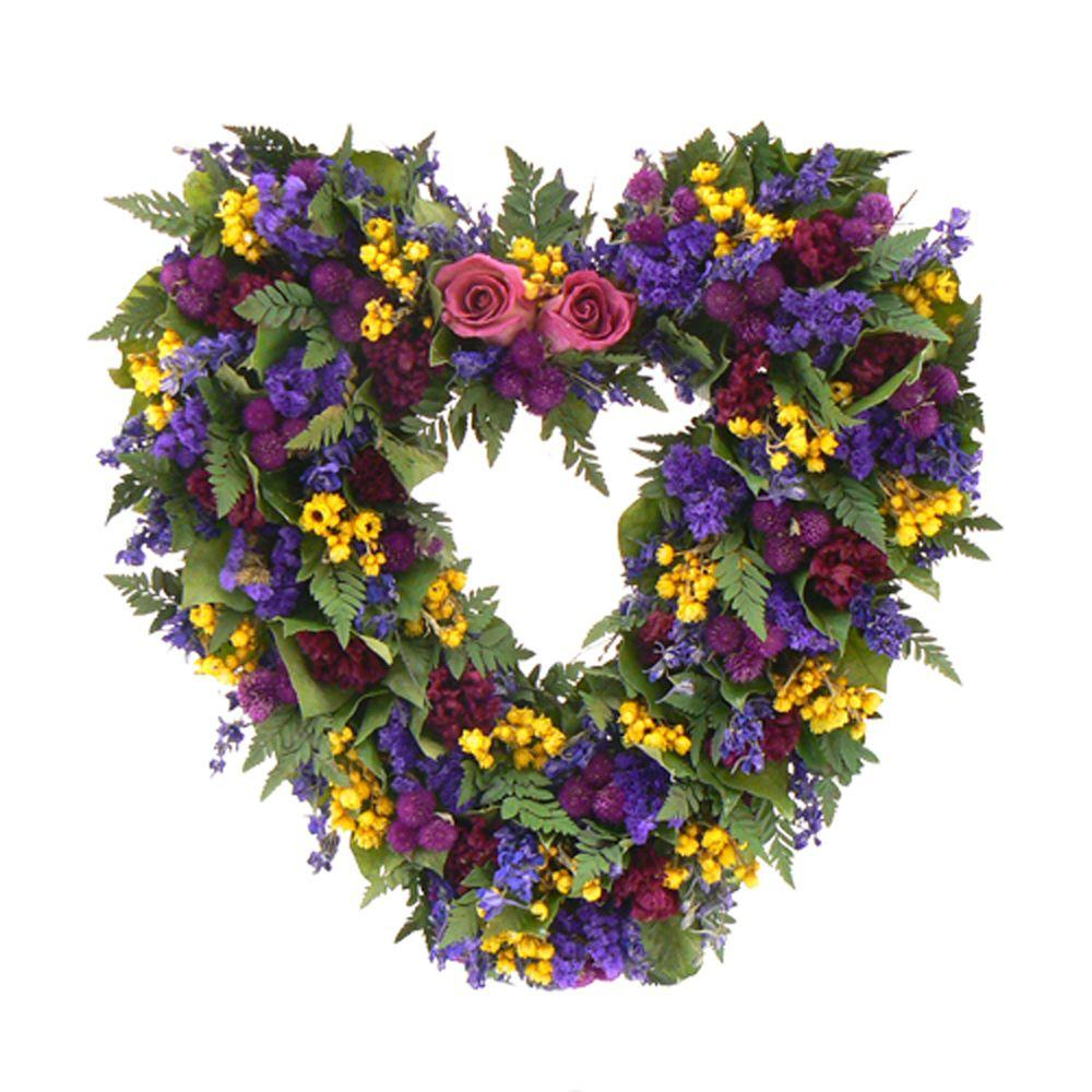 The Christmas Tree Company Loving Spring 17 in. Dried Floral Heart Wreath