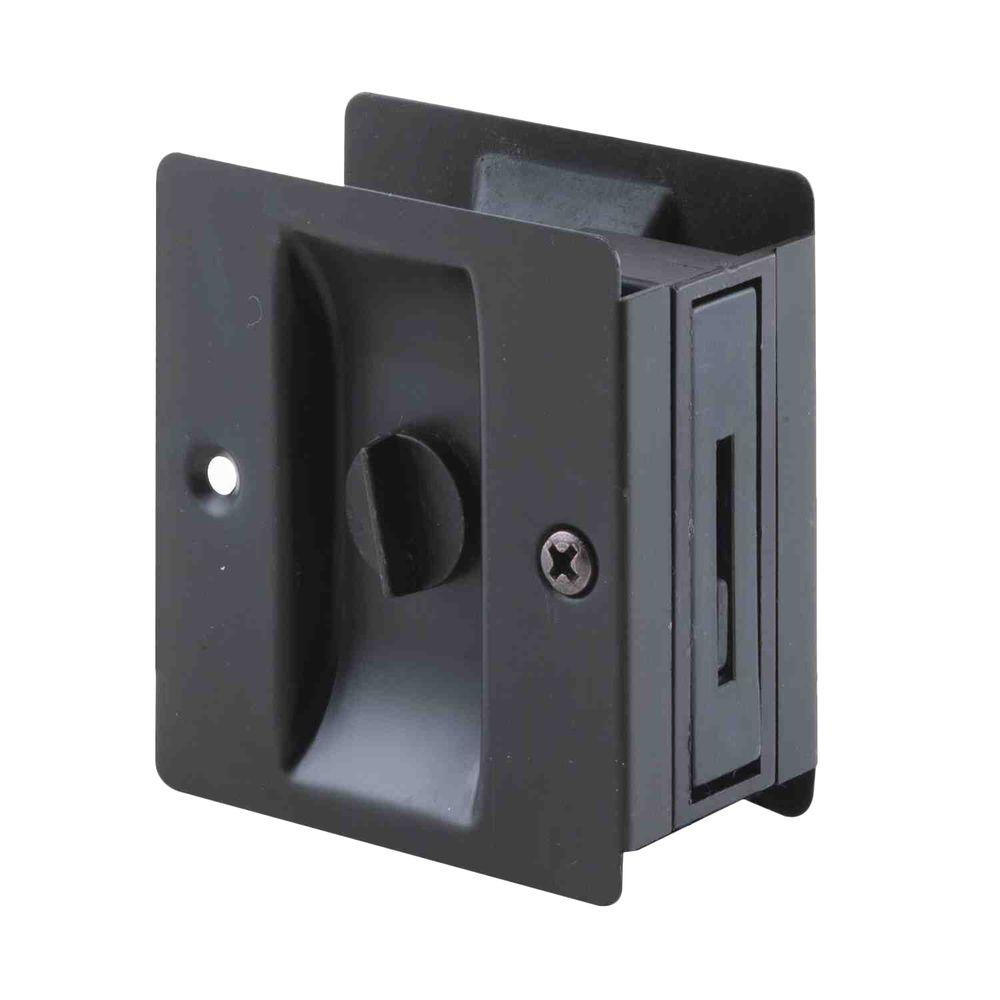 Prime-Line Bronze Pocket Door Privacy Latch with Pull