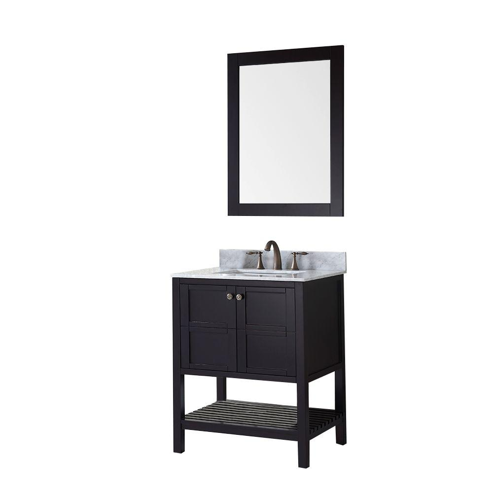 Winterfell 30 in. Vanity in Espresso with Marble Vanity Top in Italian Carrara White and Mirror