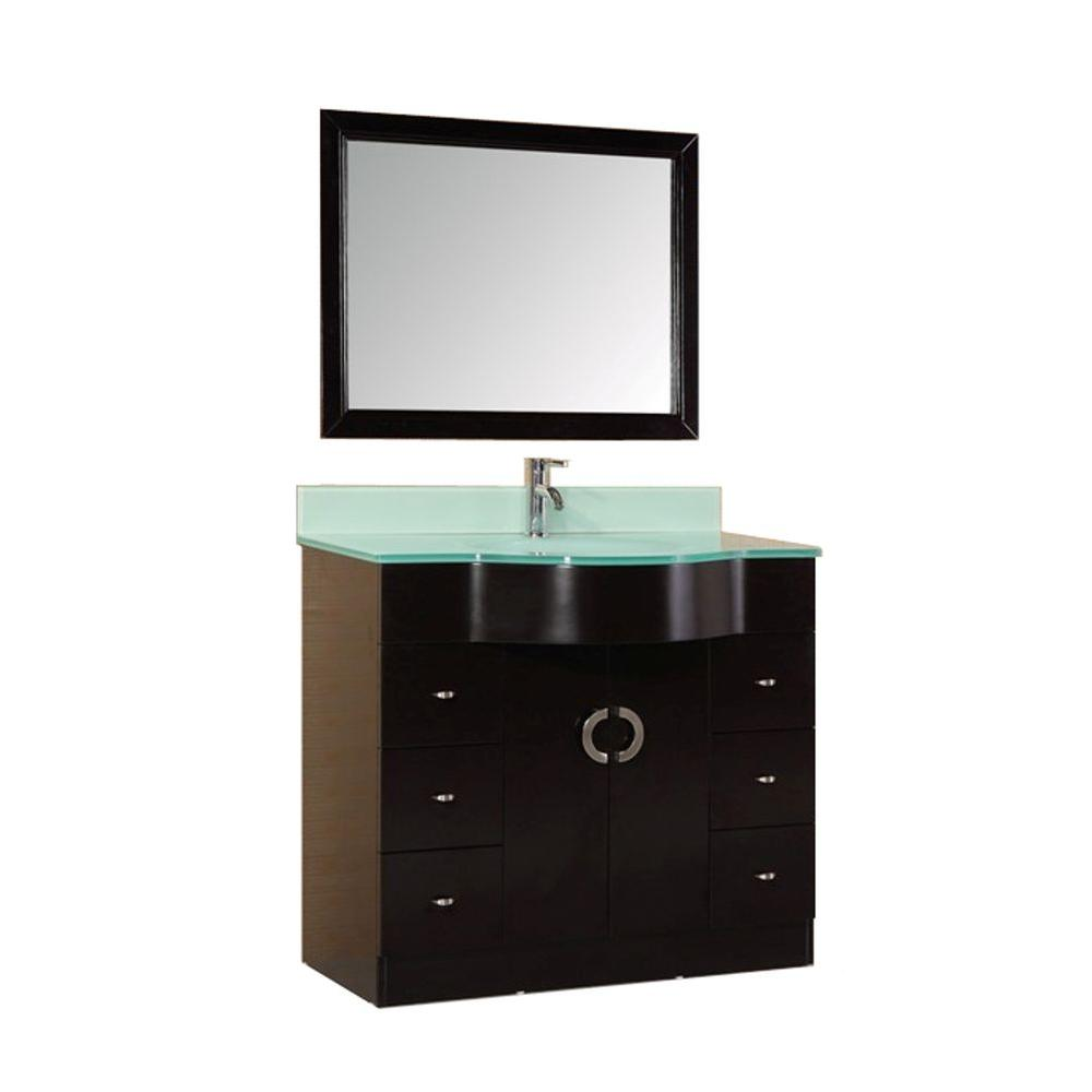 Design Element Aria 40 in. W x 22 in. D Vanity in Dark Espresso with Tempered Glass Vanity Top and Mirror in Aqua Green