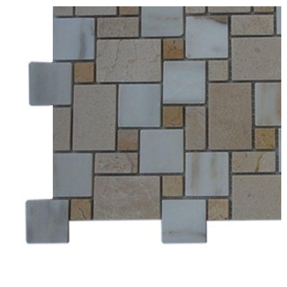 Splashback Tile Parisian Pattern Calcutta Blend Marble Mosaic Floor and Wall Tile - 3 in. x 6 in. x 8 mm Tile Sample