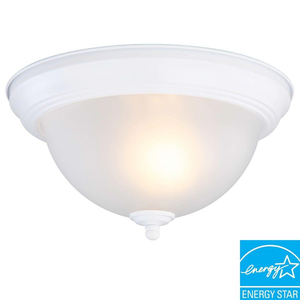 Commercial Electric 1-Light Matte White Flushmount
