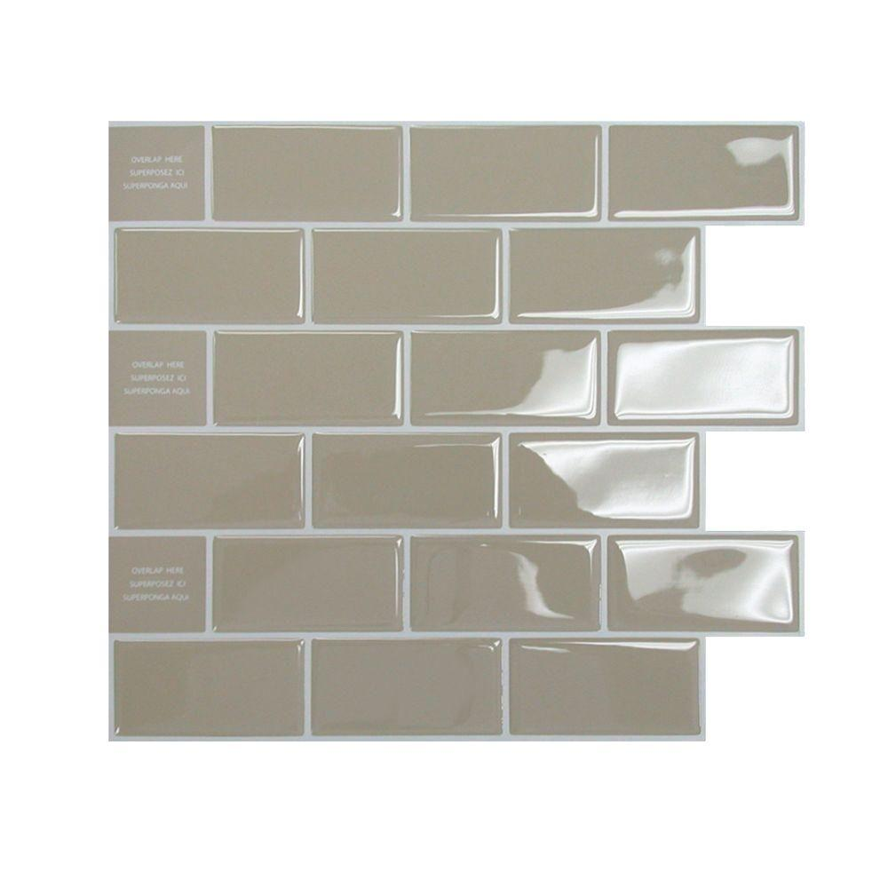Smart tiles in x in adhesive decorative tile backsplash in subway sand beige 6 pack Backsplash wall tile