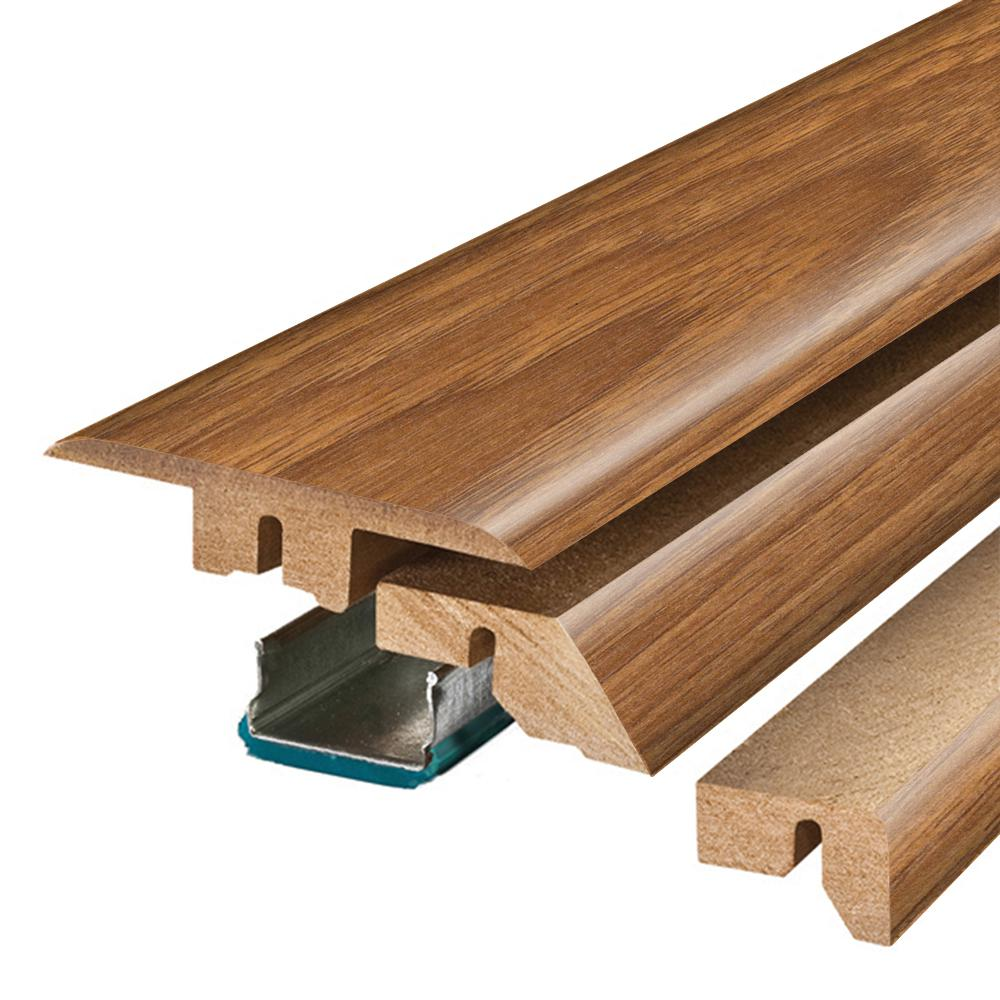 Pergo Toffee Hickory/Asheville Hickory 3/4 in. Thick x 2-1/8 in. Wide x 78-3/4 in. Length Laminate 4-in-1 Molding, Medium
