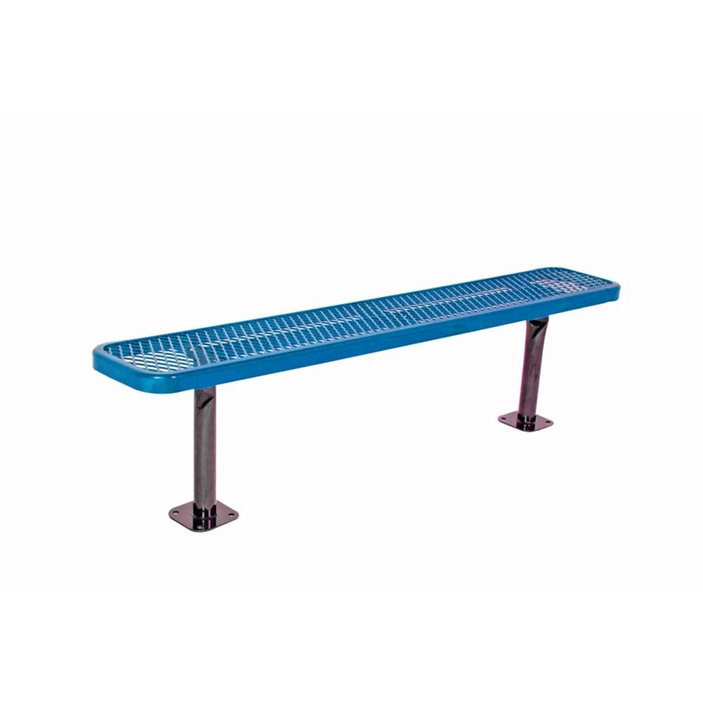 Ultra Play 6 in. Diamond Blue Commercial Park Bench without Back Surface Mount