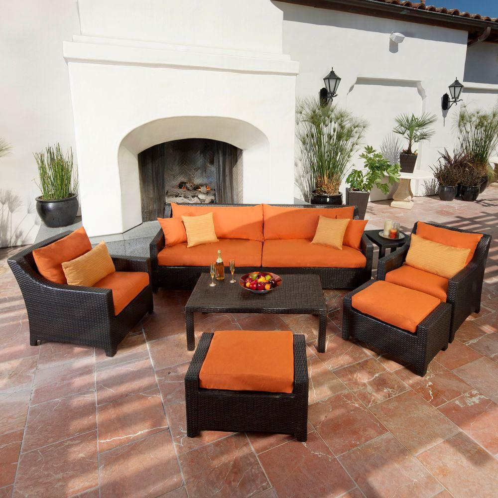 patio couch set deco  piece patio seating set with tikka orange cushions