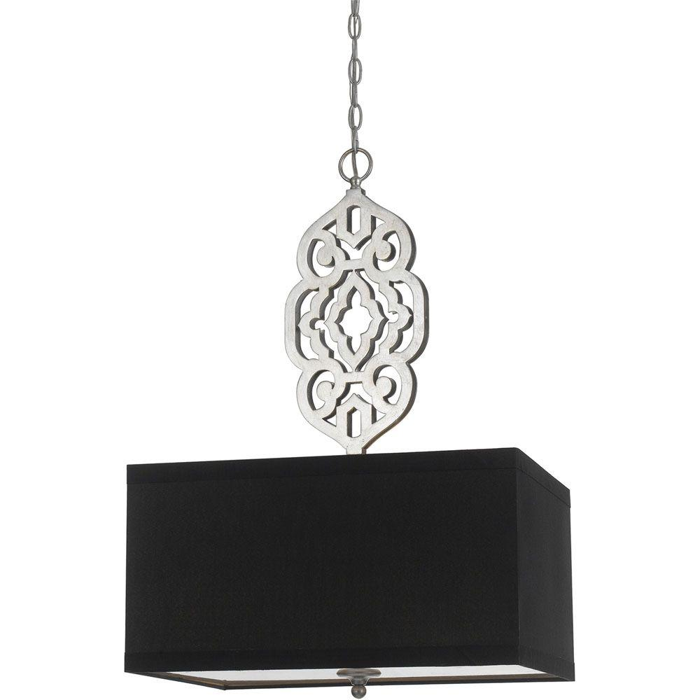 AF Lighting Grill Collection 4-Light Silver Foil Pendant with Black Shade
