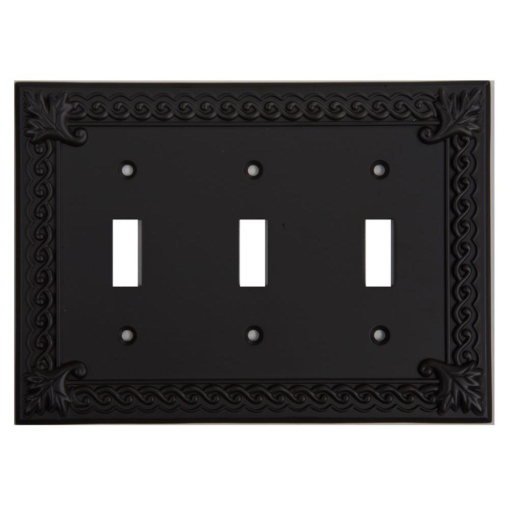 Atlas Homewares Venetian Collection 3 Gang 3 Toggle Wall Plate - Aged Bronze