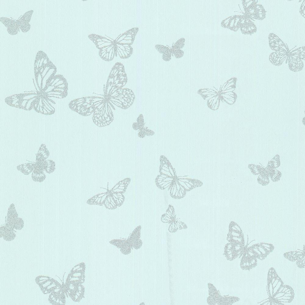 56.4 sq. ft. Pearl Turquoise Butterfly Wallpaper