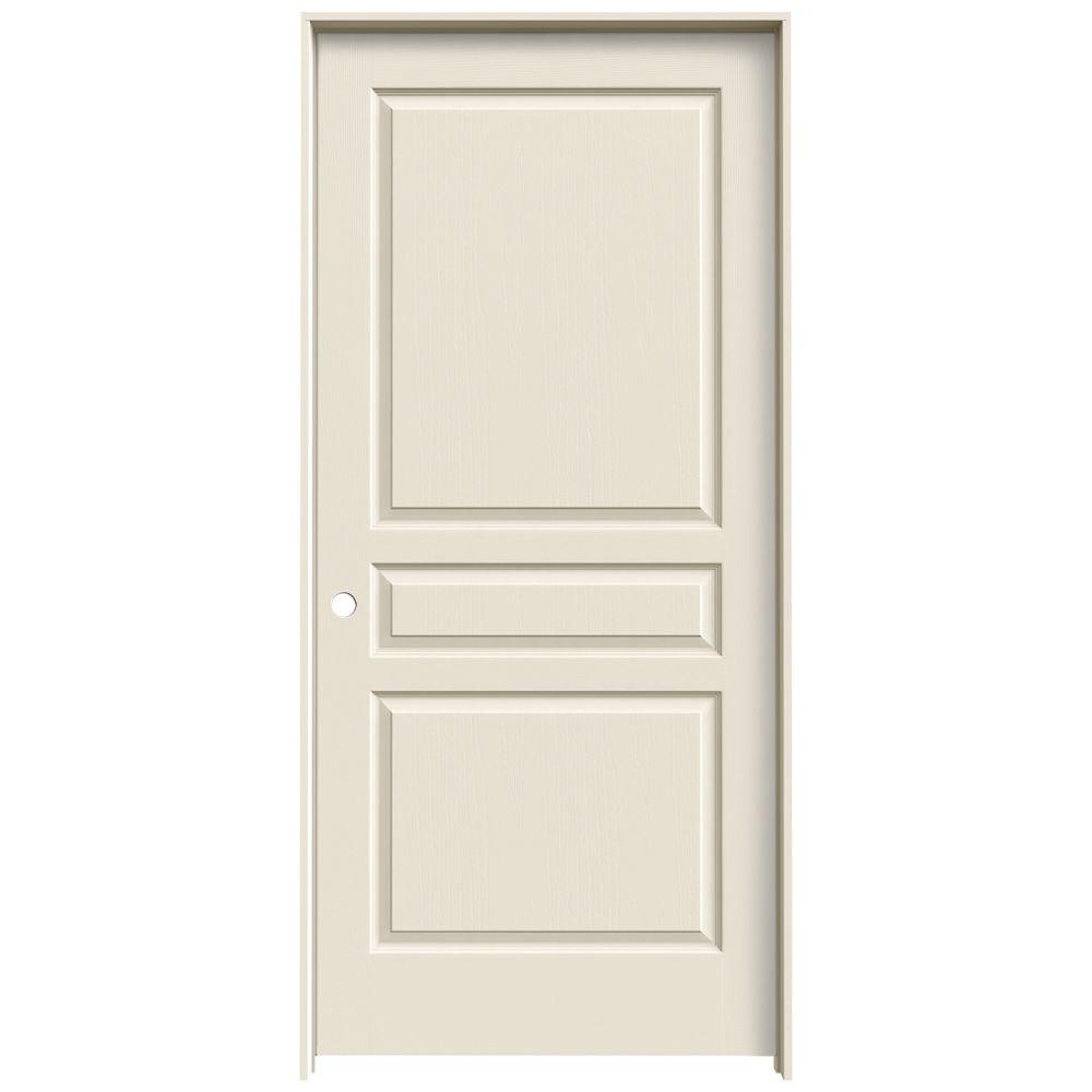 Jeld Wen 36 In X 80 In Molded Textured 3 Panel Square Primed White Hollow Core Composite