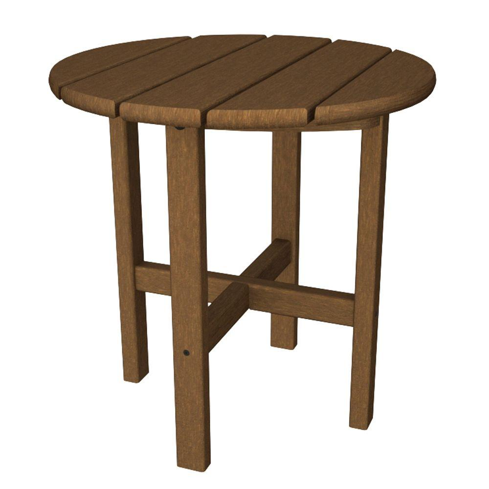 Ivy Terrace Classics Teak 18 in. Round Patio Side Table-DISCONTINUED