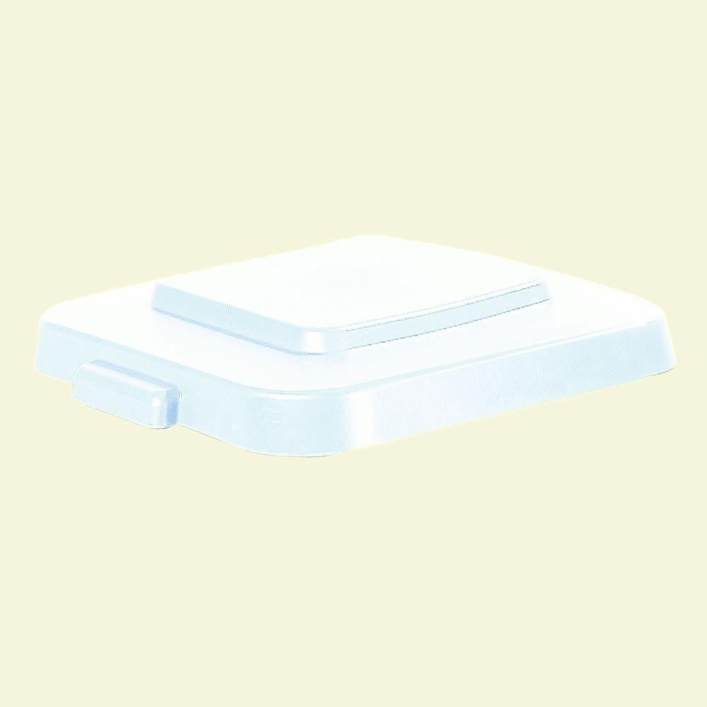 Bronco 40 Gal. White Square Trash Can Lid (4-Pack)