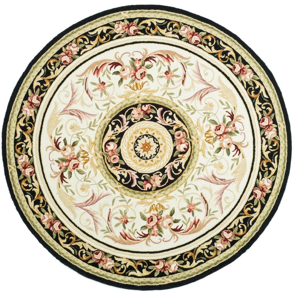 Safavieh Chelsea Ivory/Black 8 ft. Round Area Rug-HK72B-8R - The Home