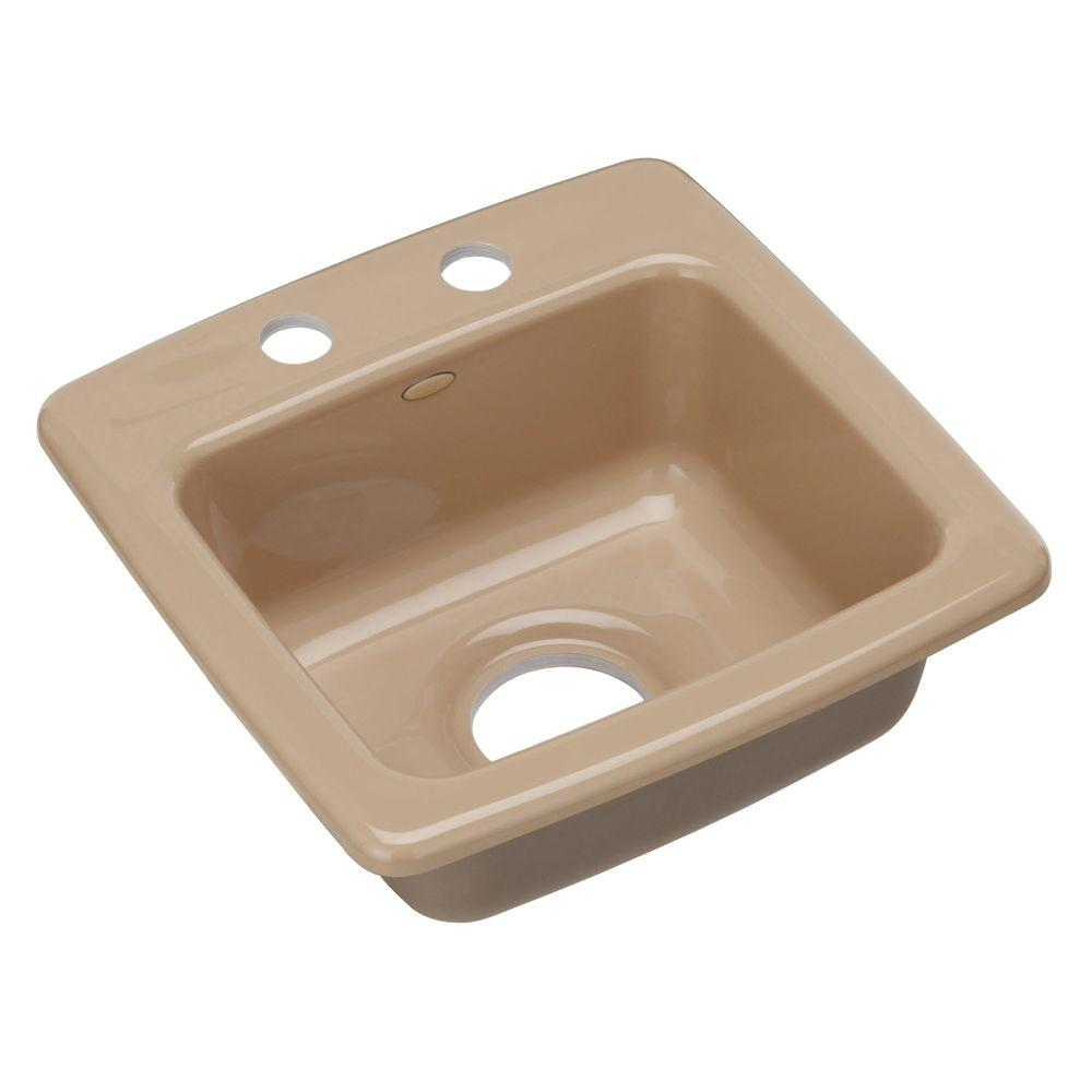 KOHLER Gimlet Self-Rimming Acrylic 15x15x6.375 2-Hole Single Bowl Entertainment Sink in Mexican Sand