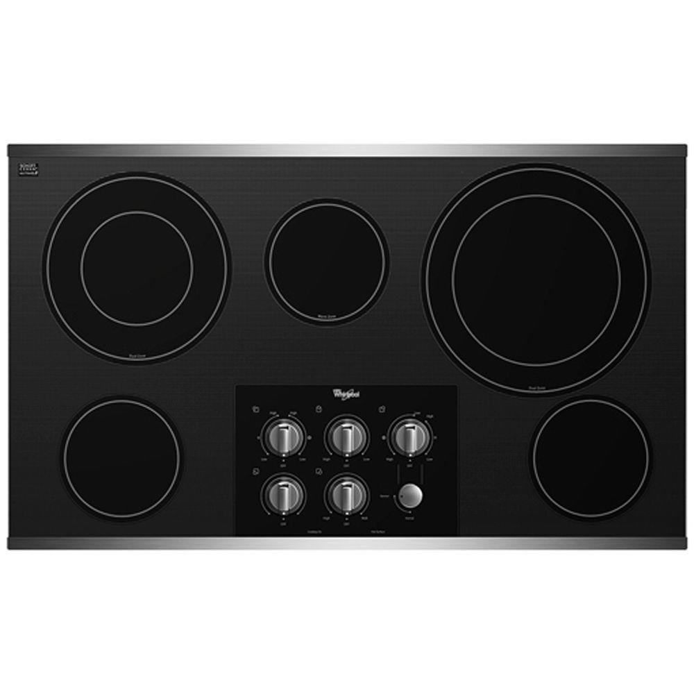 Whirlpool Gold 36 in. Radiant Electric Cooktop in Stainless Steel with 5 Elements including Dual Radiant Elements