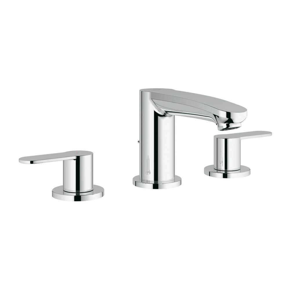 Eurostyle Cosmopolitan 8 in. Widespread 2-Handle 1.2 GPM Bathroom Faucet in StarLight Chrome, Grohe Starlight Chrome