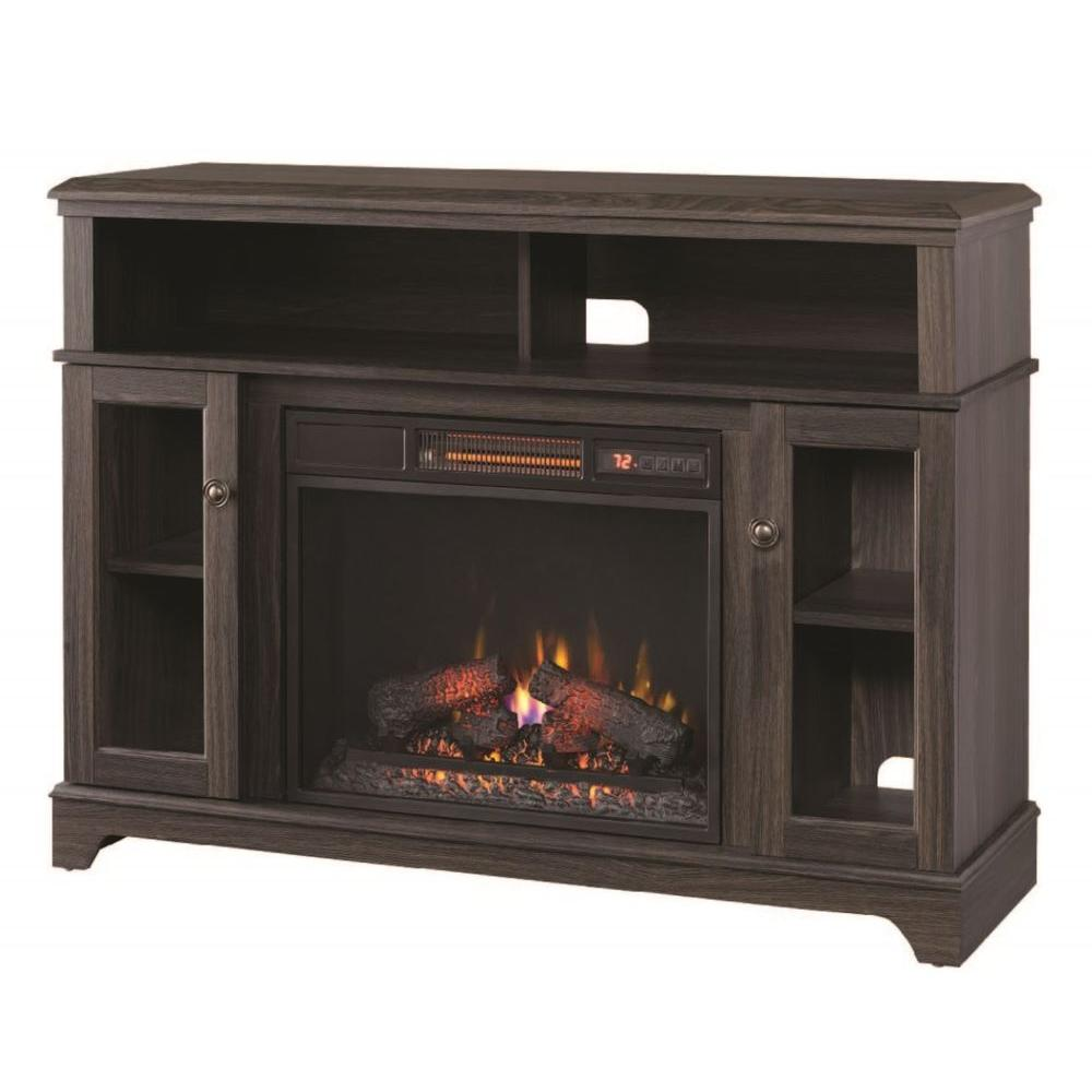 Home Decorators Collection Ravensdale 48 In Media Console Electric Fireplace In Black Walnut