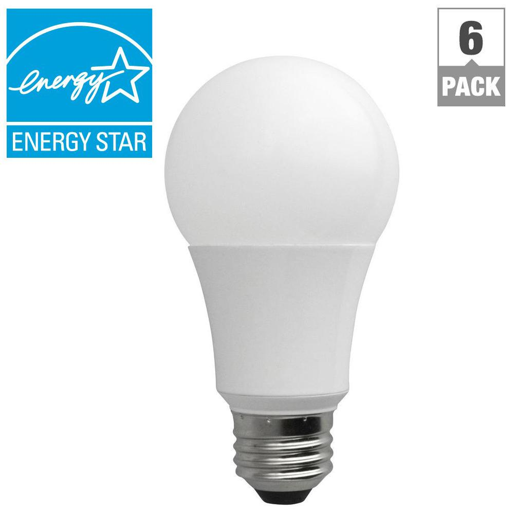 TCP 60-Watt Equivalent Daylight (5000K) A19 Non-Dimmable LED Light Bulb (6-Pack)
