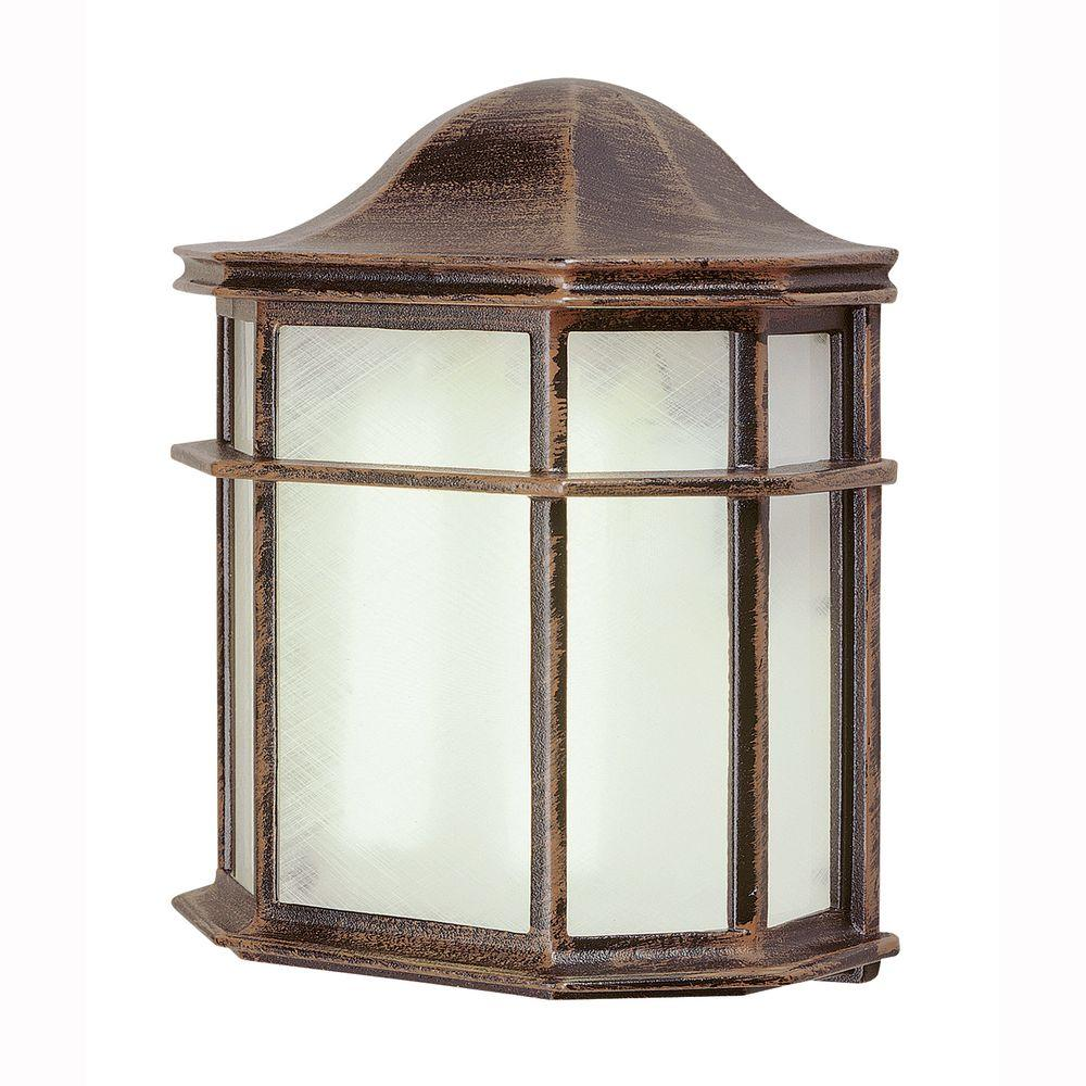 1-Light Rust Outdoor Energy Saving Patio Wall Lantern with Frosted Acrylic