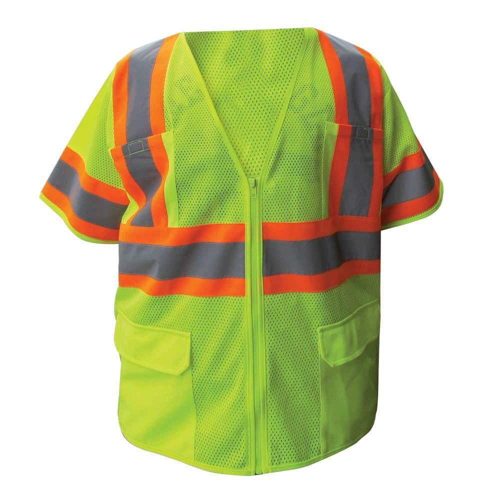 Size Extra-Large Lime ANSI Class 3 Poly Mesh Safety Vest with