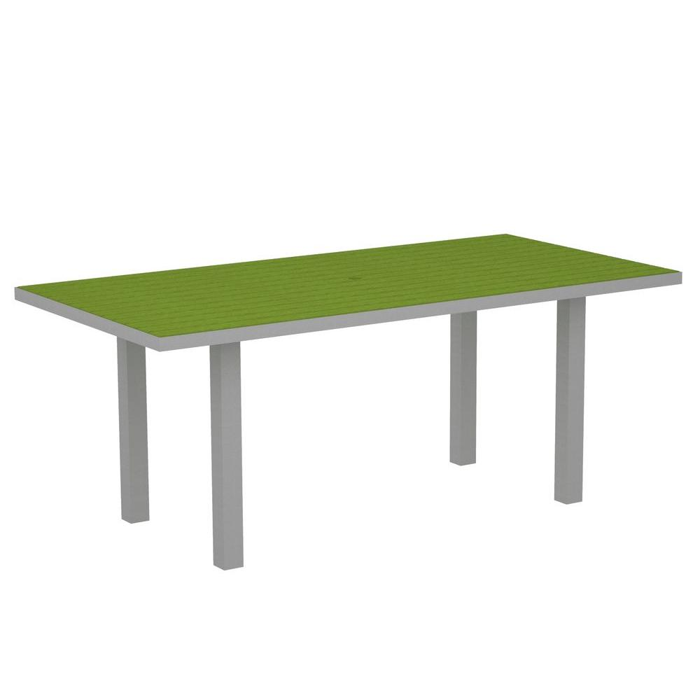 POLYWOOD Euro Textured Silver 36 in. x 72 in. Patio Dining