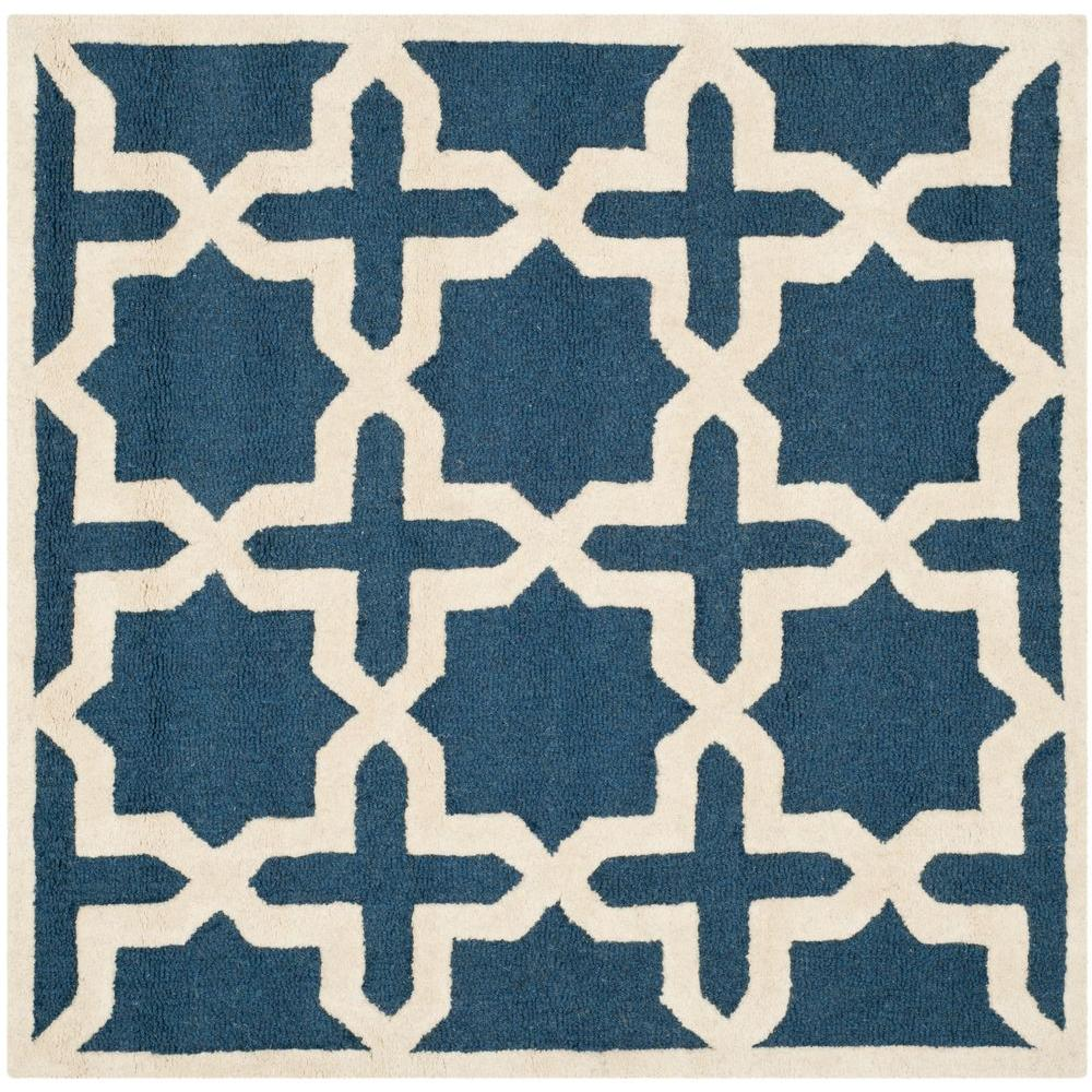 Cambridge Navy Blue/Ivory 10 ft. x 10 ft. Square Area Rug