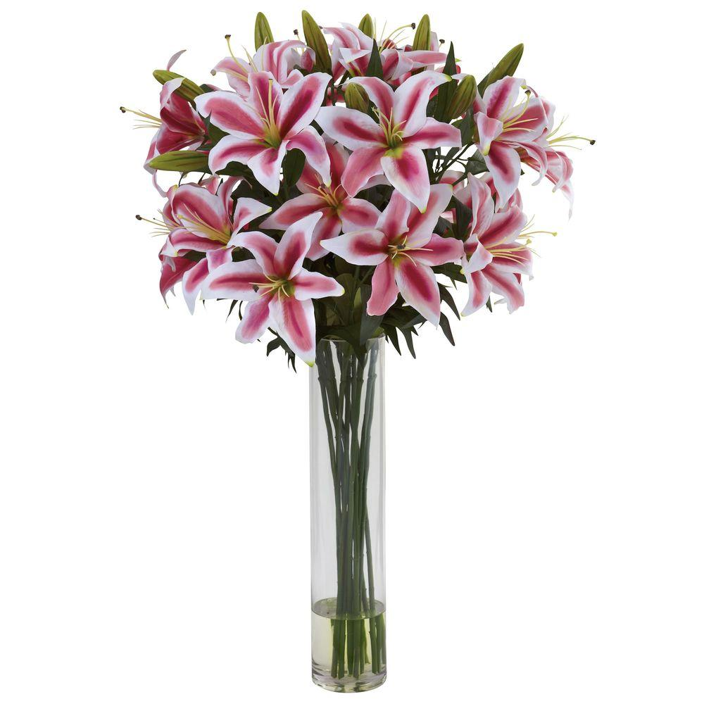 Nearly Natural Rubrum Lily with Large Cylinder Arrangement-1340 - The Home