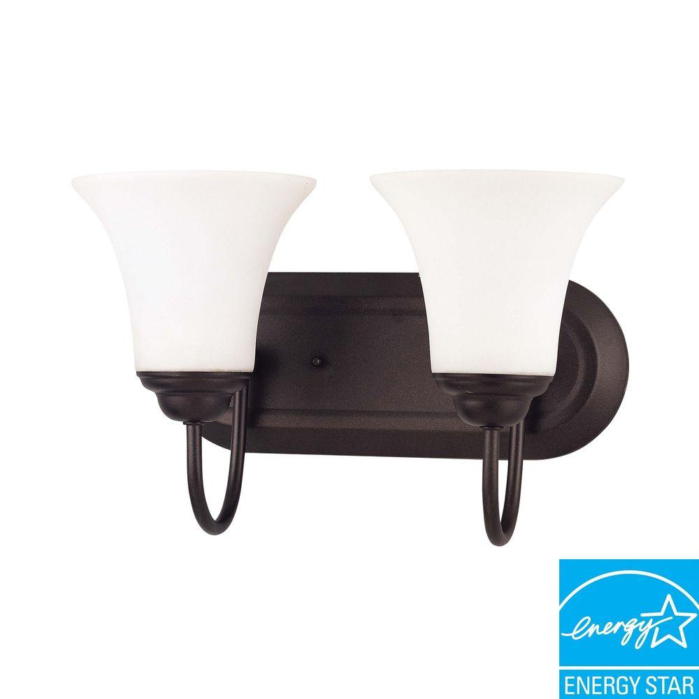 2-Light Dark Chocolate Bronze Wall Vanity Light