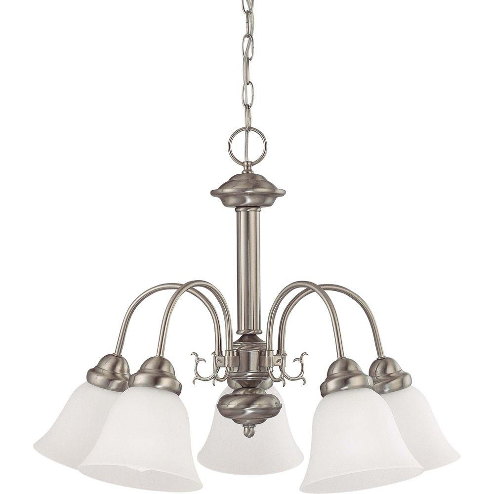 Glomar 5-Light Brushed Nickel Chandelier with Frosted White Glass Shade-HD-3240