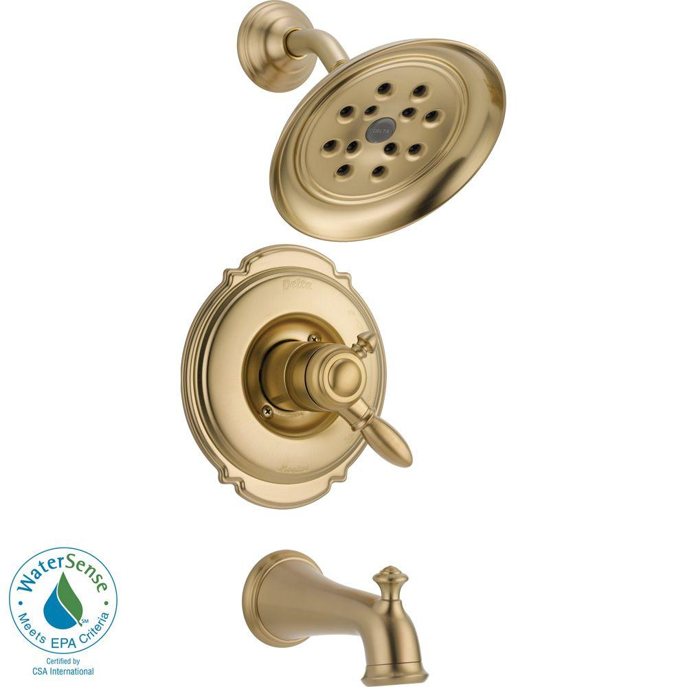 Victorian 1-Handle H2Okinetic Tub and Shower Faucet Trim Kit in Champagne