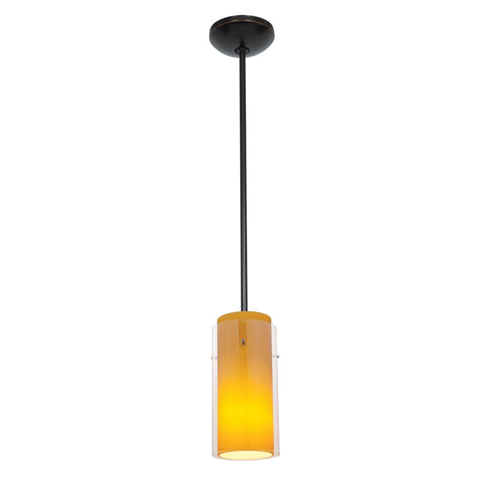 Glass'n 1-Light Oil-Rubbed Bronze Metal Pendant with Clear-Amber Glass Shade