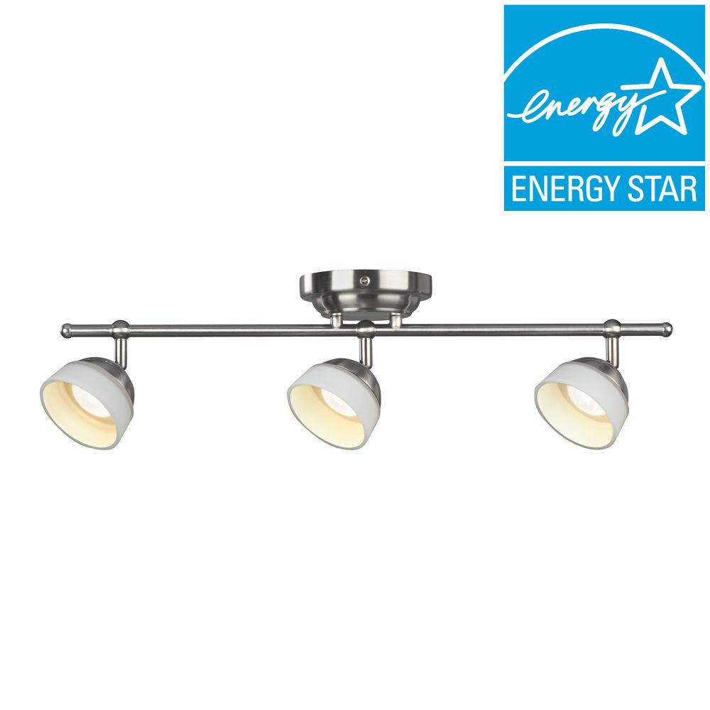 Madison 3-Light Satin Nickel Dimmable Fixed Track Lighting Kit